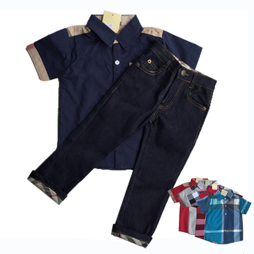 Top quality boys clothes 2pcs baby boy clothing set kids casual suit short sleeve children shirt with jeans plaid short pants