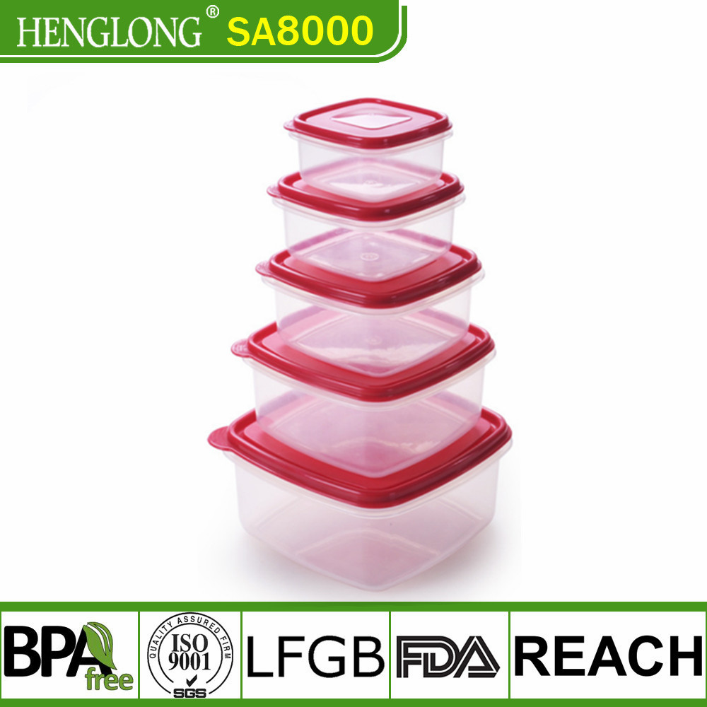 Promotional BPA Free Plastic 5pcs Cereal Keeper