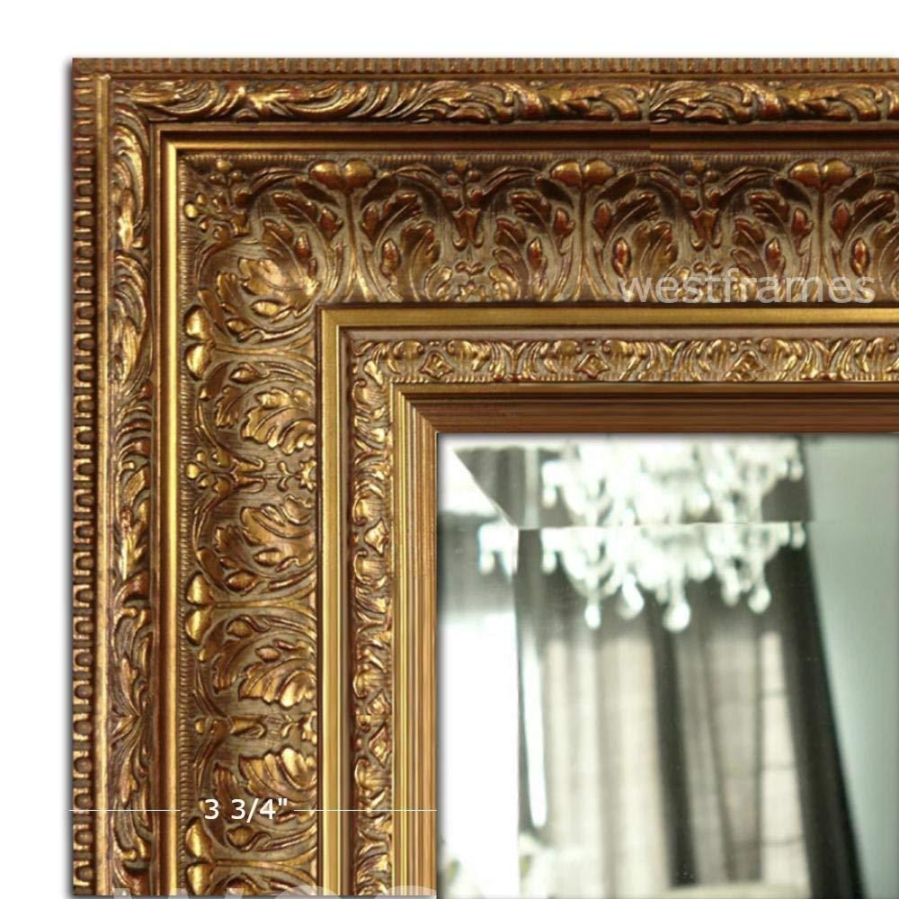 """West Frames Elegance Ornate Embossed Wood Framed Wall Mirror (31"""" x 37"""", Antique Gold)"""