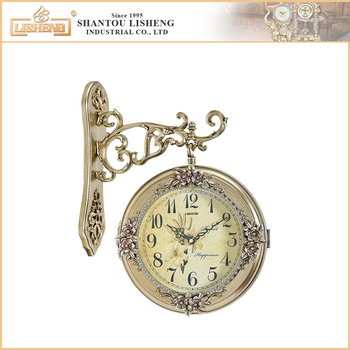 new simple style double side antique plastic wall clock for sale