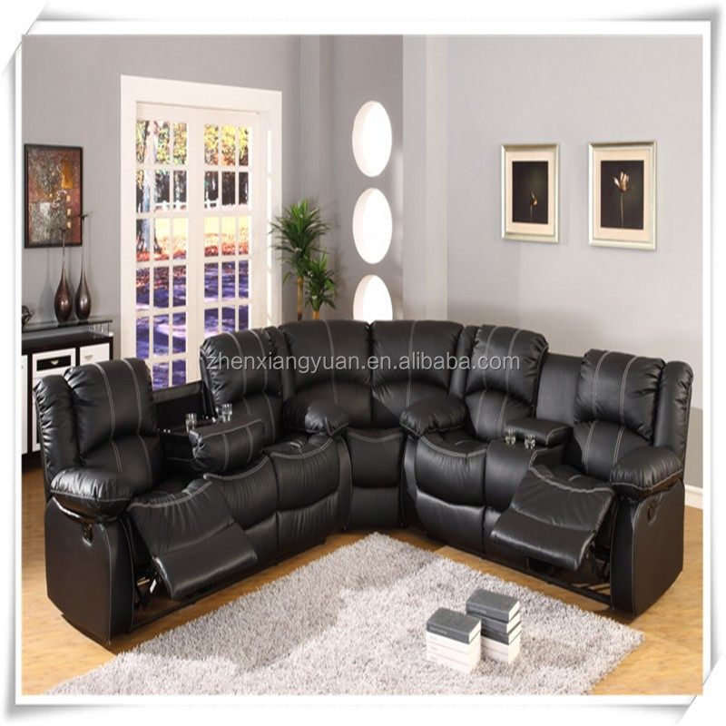 Sf3591 Black Leather Sectional Sofa With Recliners Recliner Product On Alibaba