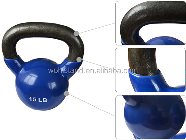 Colored Vinyl coated cast iron kettlebells