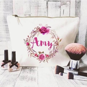 printed folding custom blank wholesale canvas cosmetic bag