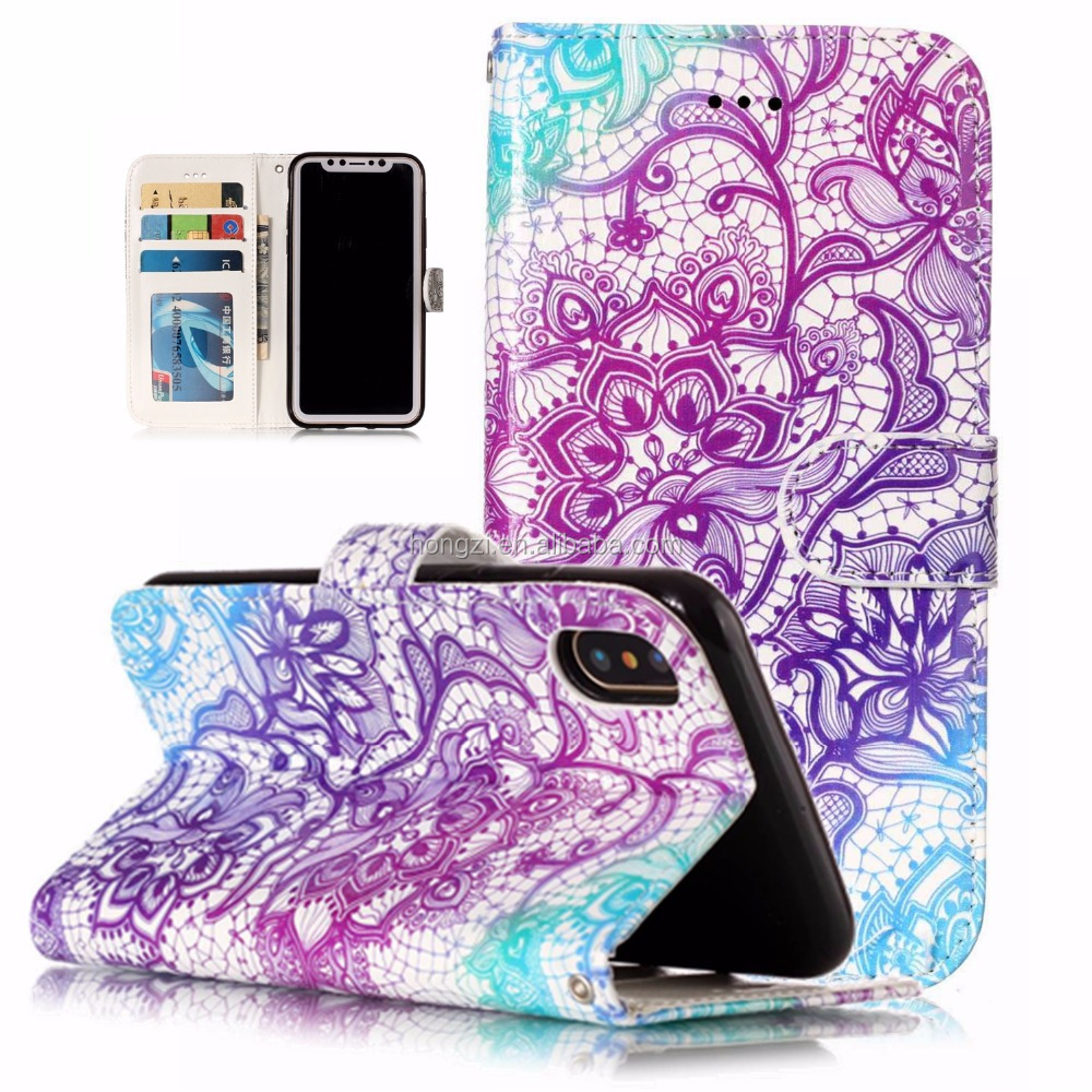 Blumen-schädel Leder Fall Für Apple Iphone x New Halter Card Slot Wallet Capa Coque cases shell flip holster halter