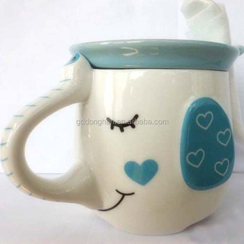 3d Cute Smiley Face Ceramic Elephant Fancy Handles Mugs With Lid For