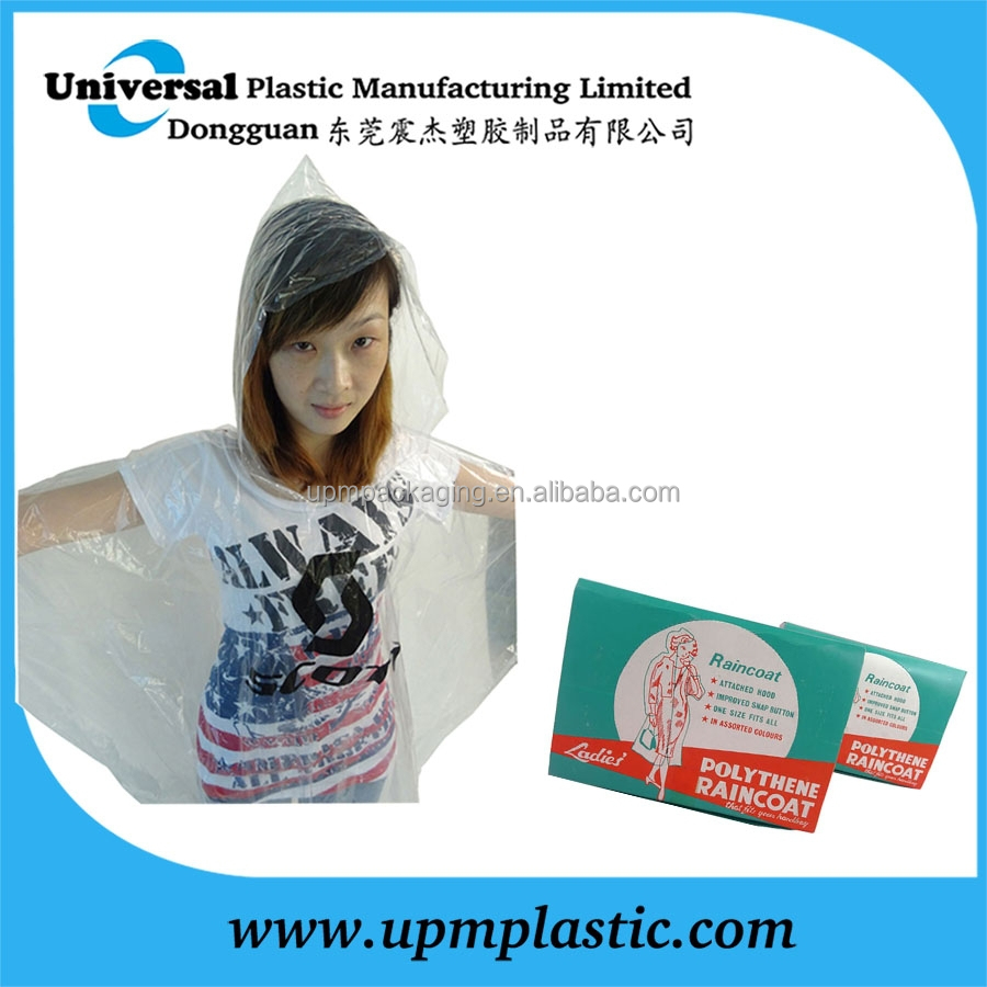 PE disposable plastic raincoat for outdoor