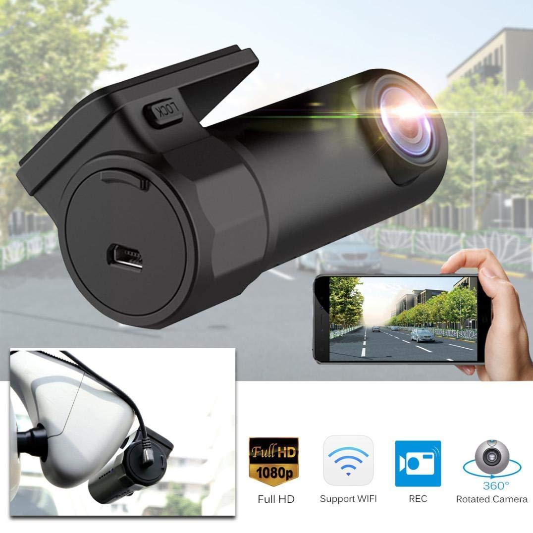 Chezaa Dash Cam Car, Hidden Car HD 1080P WiFi DVR Vehicle Camera Video Recorder Dash Cam G-Sensor GPS Dual Len 170-degree Wide Angle Camera