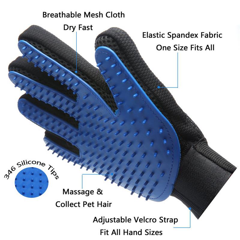 Hot Koop Vijf Vingers Huisdier Haar Reiniging Massage Handschoen, Hond Massage Handschoen