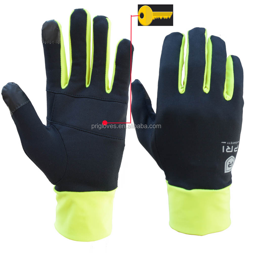 Hi-vis Green Mens Sport Thin Warm Custom Winter Running Screen Touch-handschoenen