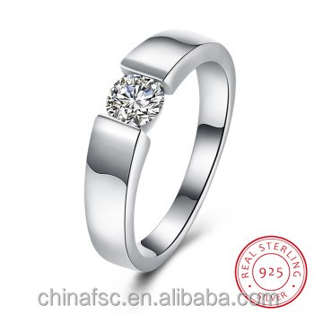 Simple fashion flat ring 925 silver fine cz ring romantic elegant jewelry