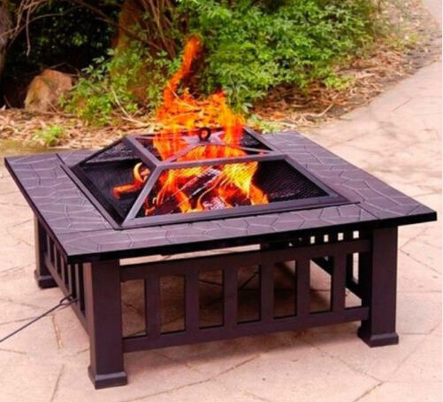 32 Inch Outdoor Garden Treasures Fire Place Square Backyard Pit With Cover Black High Quality