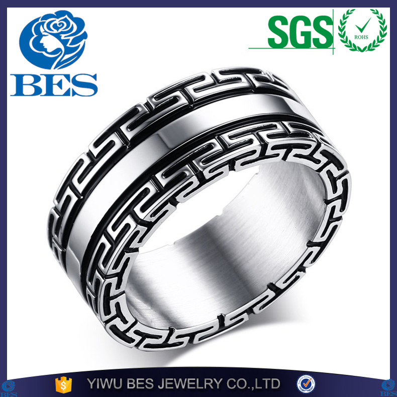 New Fashion Silver Color Black Plated Great Wall Men's Ring Stainless Steel High Polished Cool Ring Male Jewelry