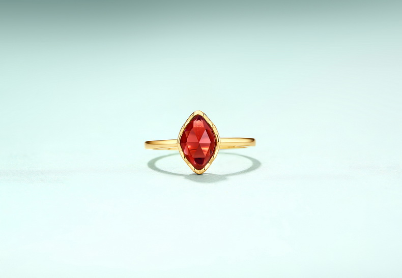 Sterling silver solitaire engagement natural birthstone marquise garnet ring