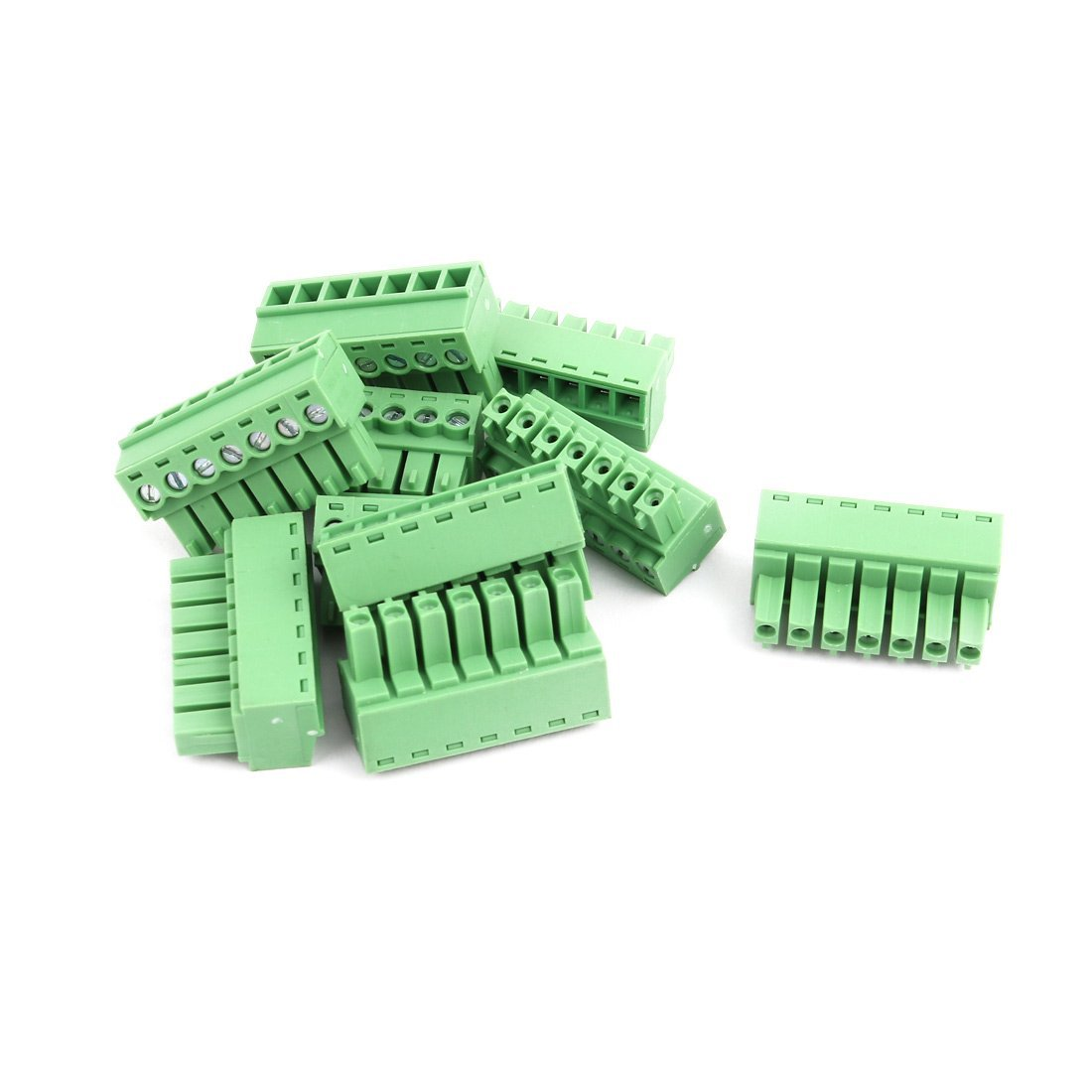 uxcell 10Pcs AC 300V 8A 3.81mm Pitch 7P Terminal Block Wire Connection for PCB Mounting