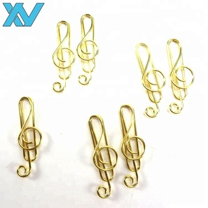 Promotional gifts custom shinny gold staff music notes shaped metal paper clips stave