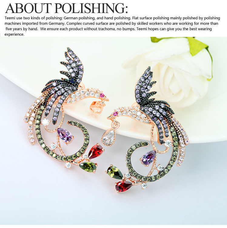 LUOTEEMI Wholesale Fashion Jewelry Luxury Rose Gold Multi Cz Micro Pave Setting Phoenix Bird Jewelry Earrings Women
