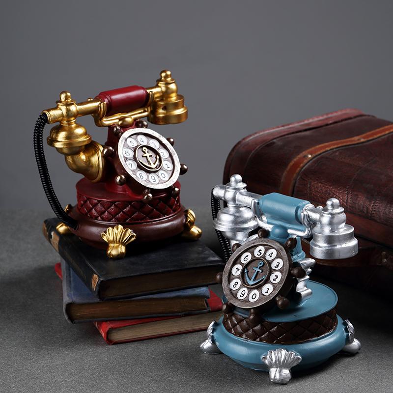 European creative home crafts decoration retro telephone model decoration