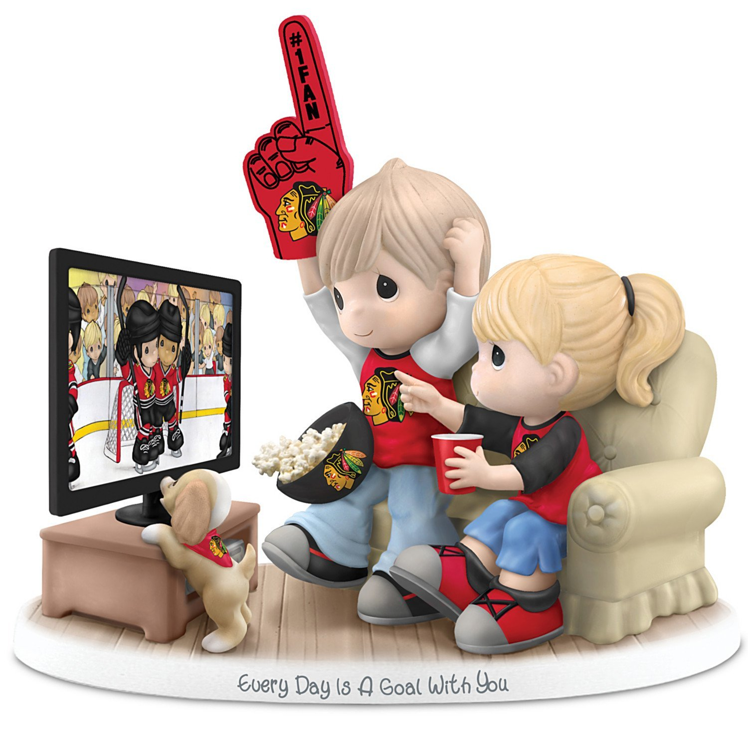 Figurine: Precious Moments Every Day Is A Goal With You Chicago Blackhawks Figurine by The Hamilton Collection