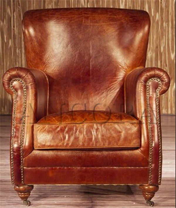 American style Antique full real leather armchair,single seater sofa chairs