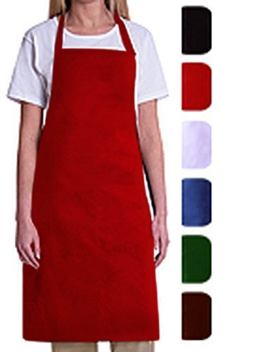 Bib Aprons-MHF Aprons-1 Piece Pack-2 Waist Pockets- New Spun Poly-commercial Restaurant Kitchen-(Red)