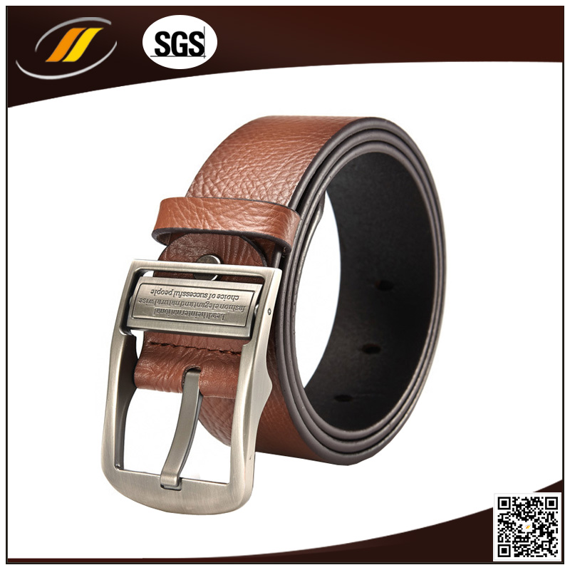 Brwon Leather Belt with Pin Buckle