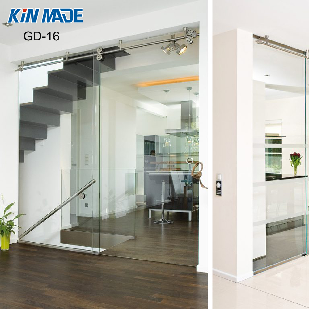 Top Hanging Ceiling Mount Stainless Steel Sliding Glass Partition