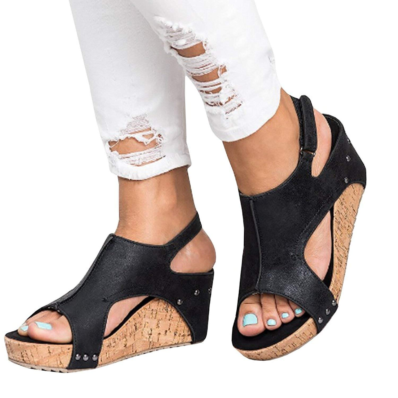 c5a6fbb04b0 Get Quotations · ThusFar Women Sandals Wedges Peep Toe PU Belt Buckle Rivet  Blocking Hook-Loop Fashion Wedges