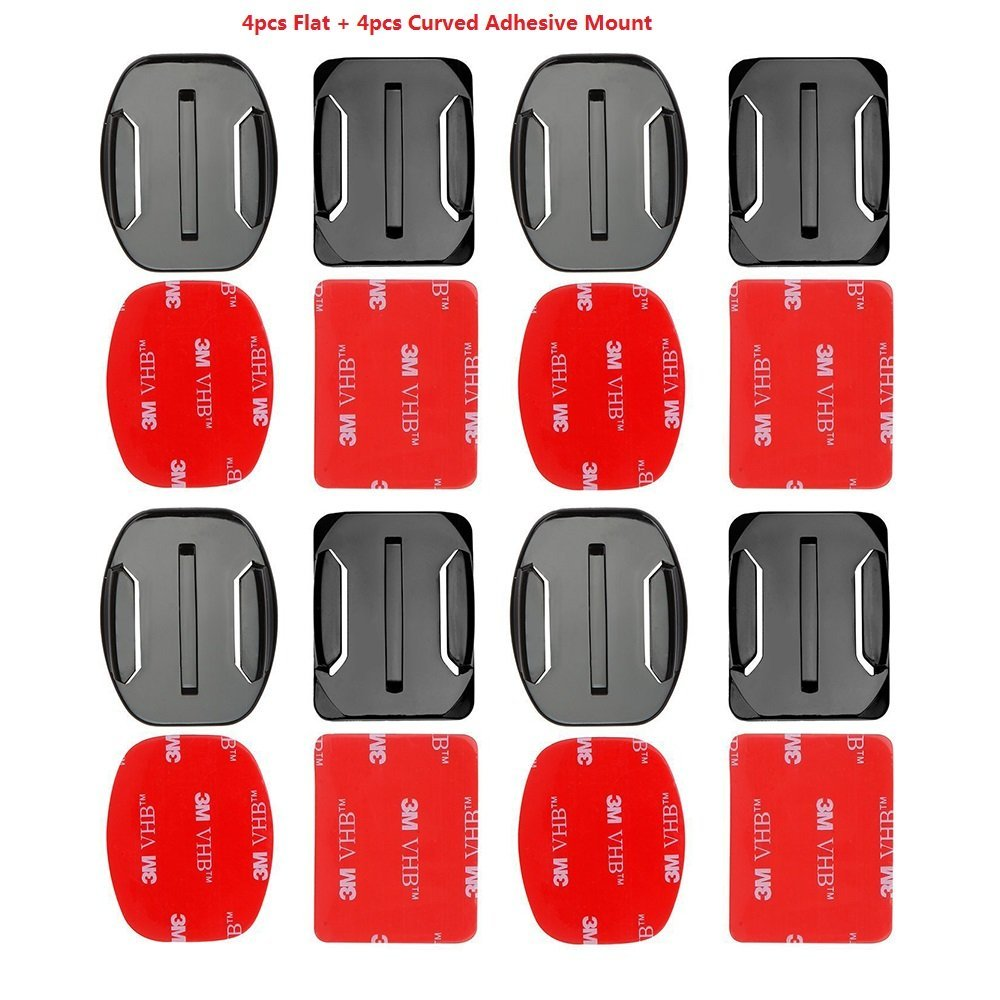 Eproperous 4pcs Curved Adhesive Mounts + 4pcs Flat Adhesive Mounts Sticky 16 PCS Helmet Adhesive Pads Sticker Flat Curved Mounts Accessories kit GoPro Hero 5 4 3+ 3 2 1 Cameras