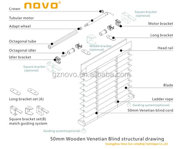 Novo 25mm Aluminum Motorized Timber Venetian Blinds
