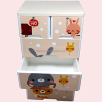 With lock Cartoon Design 5 Layers Baby Plastic Cabinet drawer