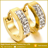 Stainless Steel Gold Plated Earrings Crystal Paved Hinged Hoop Earrings