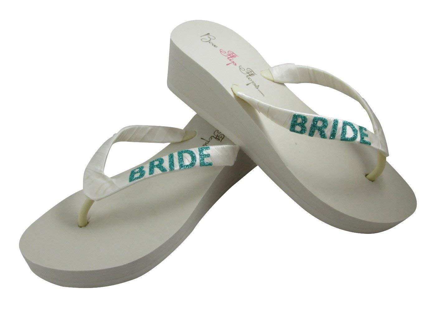 3ffe6566e Get Quotations · Ivory and Teal Glitter Bride Wedges in Flip Flop low or high  heel