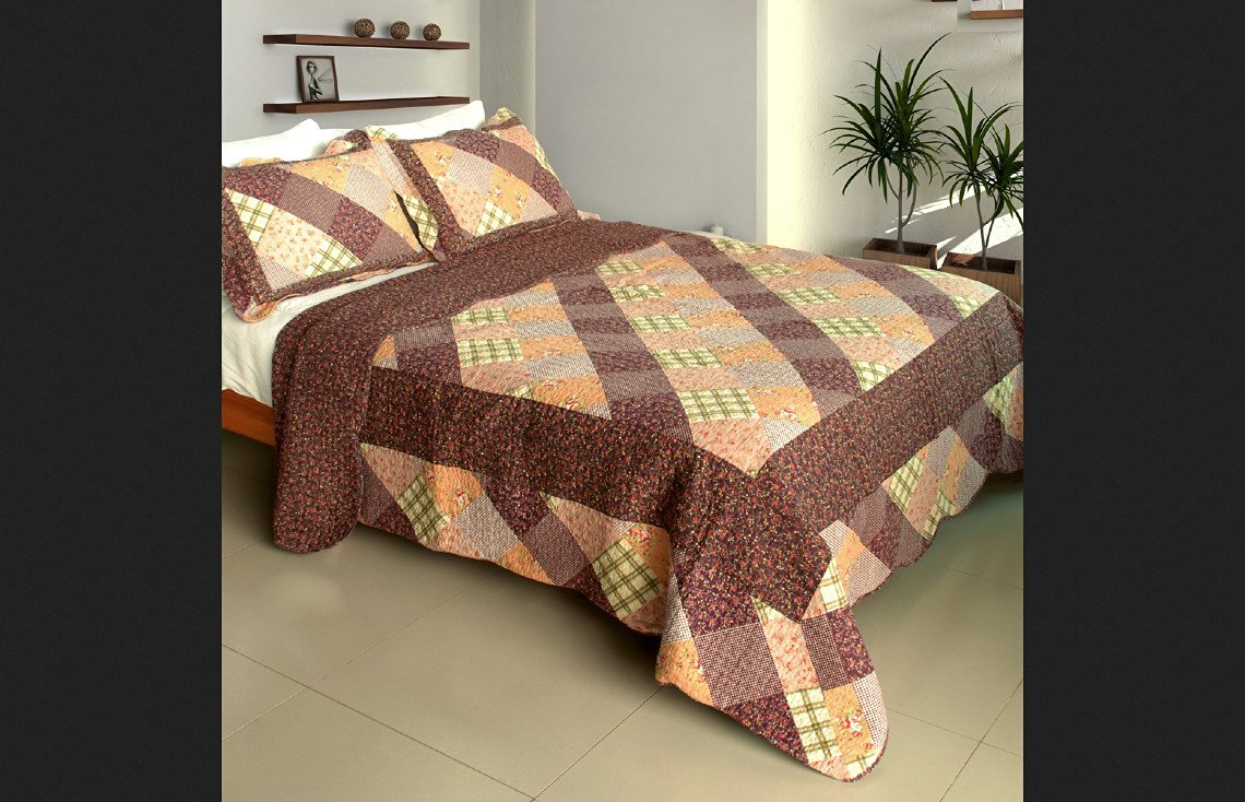 Blancho Bedding 100% Cotton Full/Queen Size Artistic Chic 3PC Vermicelli-Quilted Patchwork Quilt Set