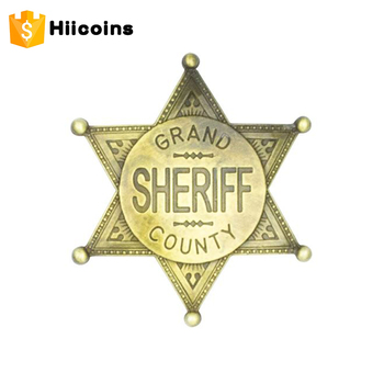 wholesale badges and custom pin badge customized sheriff star badge, View  sheriff star badge, Hiicoins Product Details from Kunshan Hiicoins