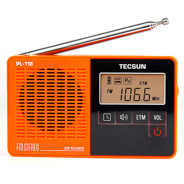 TECSUN PL-118 Mini DSP FM Stereo Radio ETM Alarm Clock Sleep timer Receiver <strong>Orange</strong>