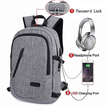 New design nylon custom anti-theft designed backpack with usb for daypack