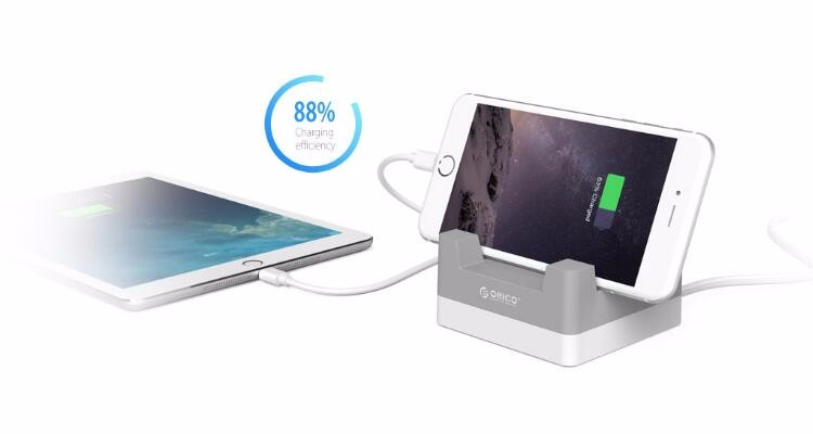 ORICO 4 Port Desktop USB Charger with Phone Tablet Mount docking