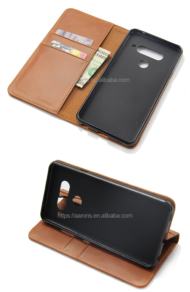 Soft tpu genuine leather fashion hot selling flip factory price cell phone credit card holder phone wallet case for LG V40