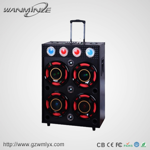 4*12 Inch Bass Multifunctional Dynamic DJ Sound System with Light Hot Sale Wooden Speaker with 5 Brands EQ