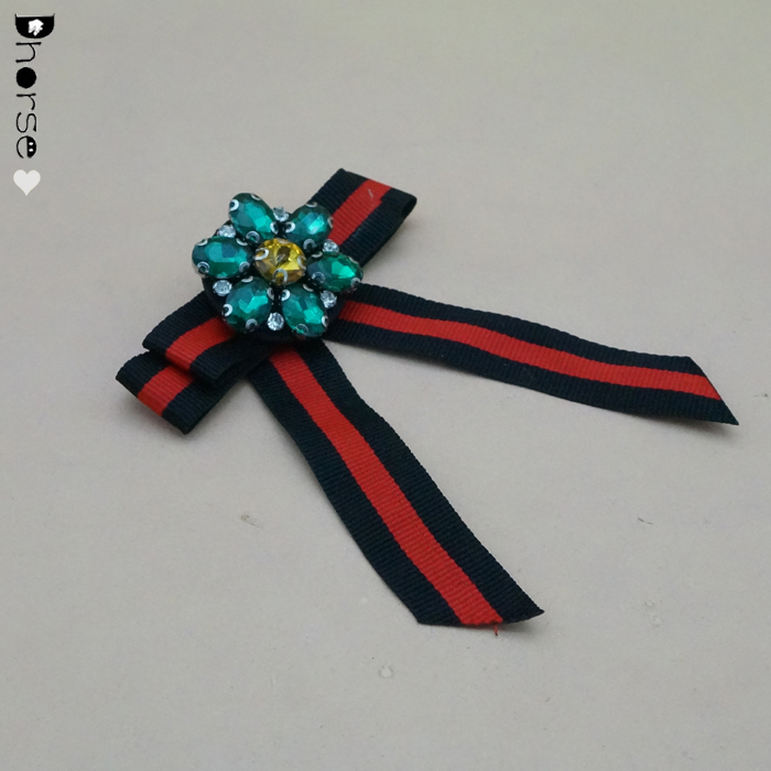Wholesale hand beaded flower appliqued bow brooch with stripe ribbon