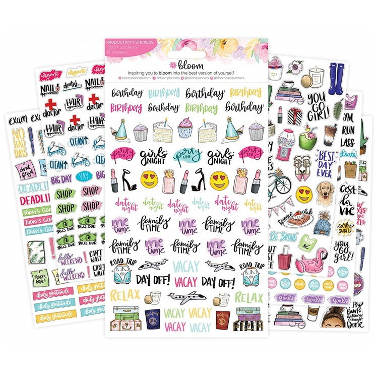 OEM DIY Students Diary Notebook Cartoon Alphabet Decorative Weekly Daily Colorful Label Happy Planner Sticker