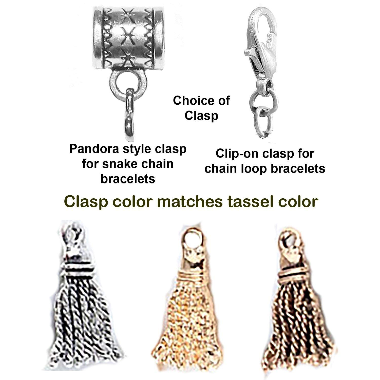 Graduation Tassel charm in silver, gold or bronze color by Mossy Cabin for modern large hole snake chain charm bracelet. Optional clip-on clasp available
