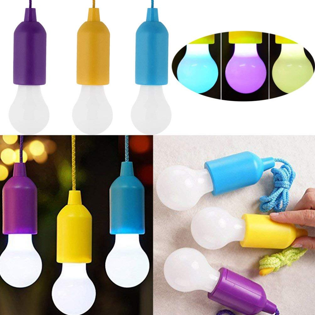 Iusun Portable LED Pull Cord light Bulb Outdoor Garden Party Camping Hanging LED Light Lamp