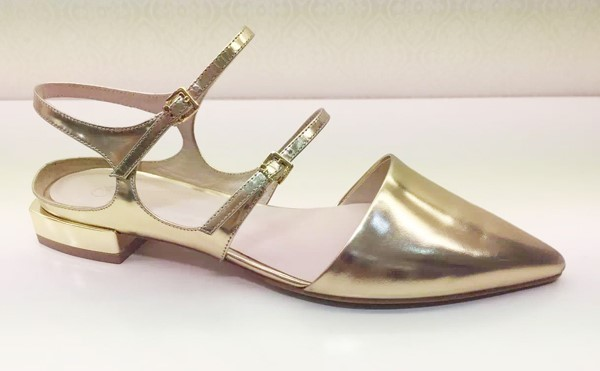 Gold metallic casual shoes women