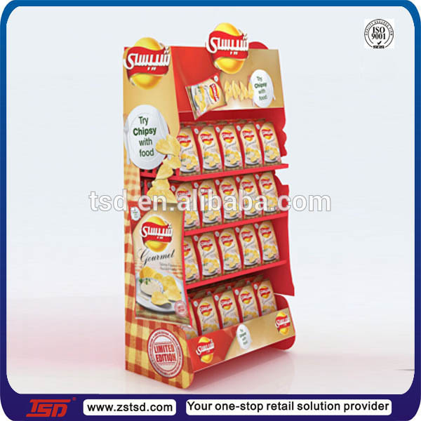 Tsd W595 Custom Retail Store Wooden Display Stands For Chips Crisps Display Potato Chip Display