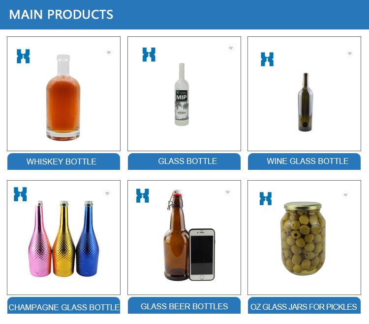 Fabrik preis alle größen klarglas flasche für schnaps