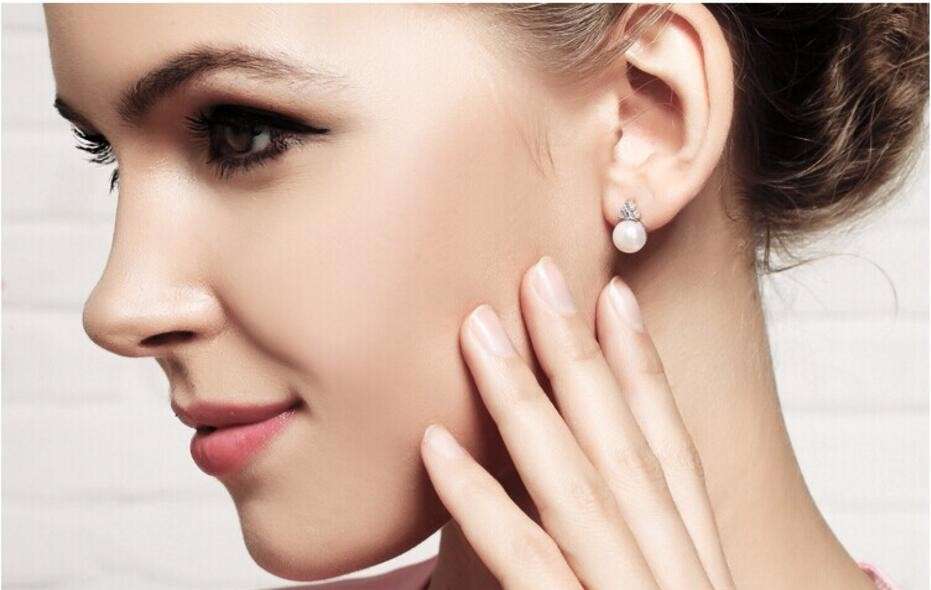 AAA CZ Pearl Earring Drop For Wedding With Real Rhidium Plated Fashion Clear