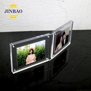 JINBAO Hinged double crystal clear plastic magnetic acrylic picture frames 8x10 6x7 5x8 4x6 acrylic picture stand for home