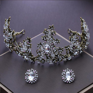 Hot selling baroque bridal crown earrings two piece set wedding tiaras and crowns