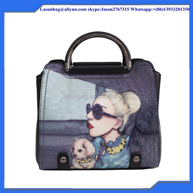 2016 Winter Fashionable Young Lady Girls Shoulder Bag Cartoon Cute Printing Female Leather Handbags